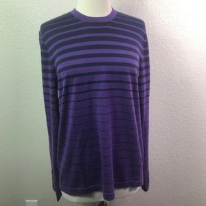 Neiman Marcus Purple Sweater Black Stripe Cashmere